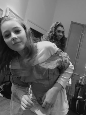 Maddie Cope and Bella Faillace - backstage for Midsummer